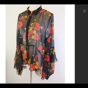 Forever 21 Floral Top Long Sleeves Ruffles 2x
